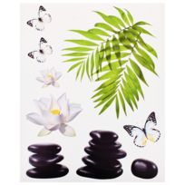Promobo - Planche Lot 9 Stickers Deco Zen Colonne Galets Noir Bambou Papillon