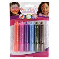 Grim'TOUT - Etui de 6 sticks de maquillage couleurs pop