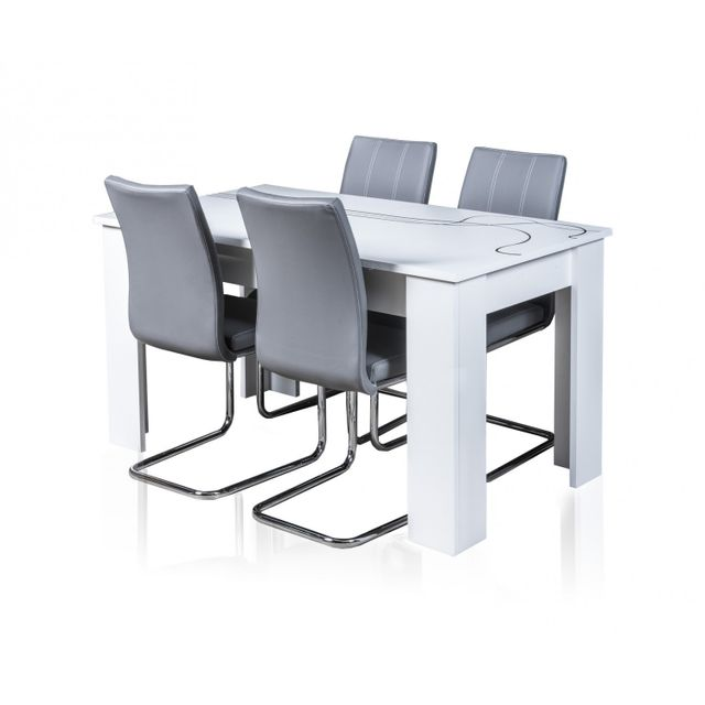 TOPDECO Table extensible Lino + 4 chaises sidney grises
