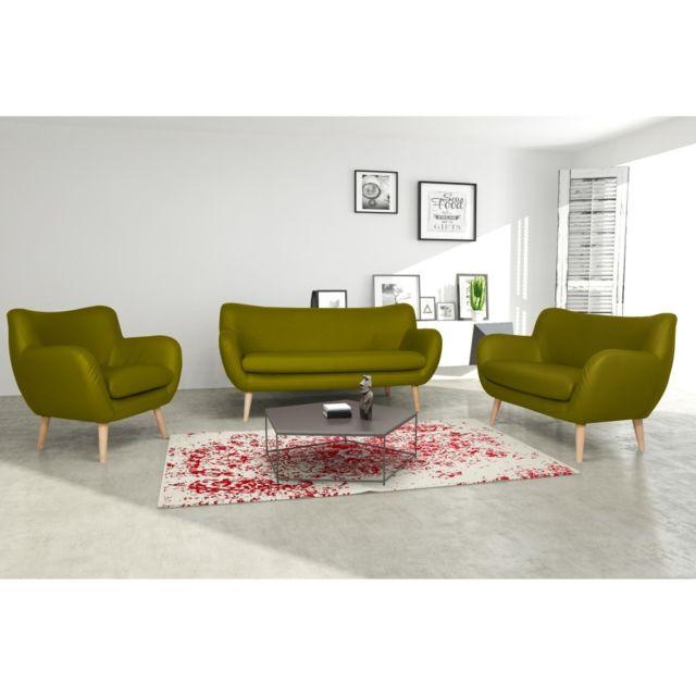 Rocambolesk Canapé Adele 3+2+1 Pu soft 13 apple avec pieds naturels sofa divan