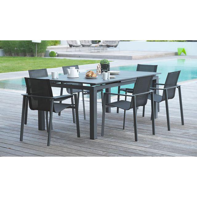 Dcb Garden Salon Jardin Miami Table Extensible Et 6 Fauteuils Pas Cher Achat Vente Ensembles Tables Et Chaises Rueducommerce
