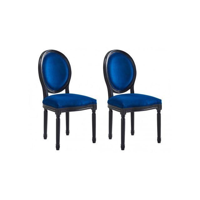 8e54fc66d41a8e MARQUE GENERIQUE - Lot de 2 chaises LOUIS XVI - Velours bleu nuit ...