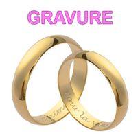 So Chic Bijoux - Couple d'Alliances: Ensemble Set 2 Bagues Mariage 4 mm Plaqué Or 750 - Personnalisable : Gravure Offerte - Taille 56