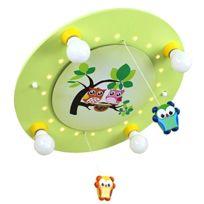 Elobra-Leuchten - 128220 Plafonnier Mobile À 4 Ampoules DÉCOR Famille De Chouettes Vert