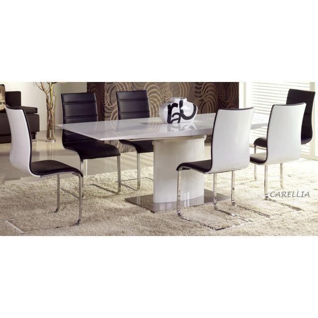 Carellia Ensemble Table A Manger rectangulaire extensible Marcello + 4 Chaises