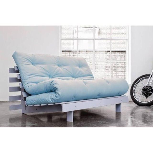 Inside 75 Canapé Bz gris Roots White futon bleu celeste couchage 140 200cm