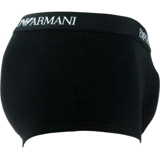 EMPORIO ARMANI Lot de 3 boxers TRUNK Blanc/Rouge/Noir 1 modèle blanc à ceinture élastiquée brodée Emporio Armani en noir - 1 modèle rouge à ceinture élastiquée brodée Emporio Armani en