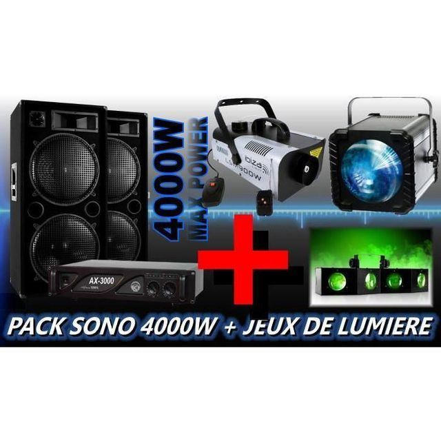 Ibiza Sound Pack sono 4000w avec jeux de lumiere dj - machine a fumee pa dj rgb
