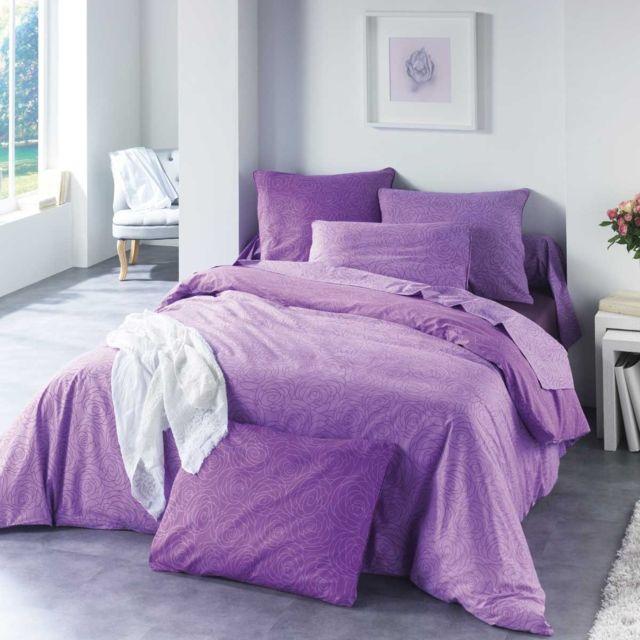 c design home drap plat drap housse taie victoria violet pas cher achat vente parures. Black Bedroom Furniture Sets. Home Design Ideas