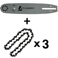 GT GARDEN - Guide 10 pouces 26 cm, avec lot de 3 chaînes 40 maillons pour tronçonneuse élagueuse 25 cm3