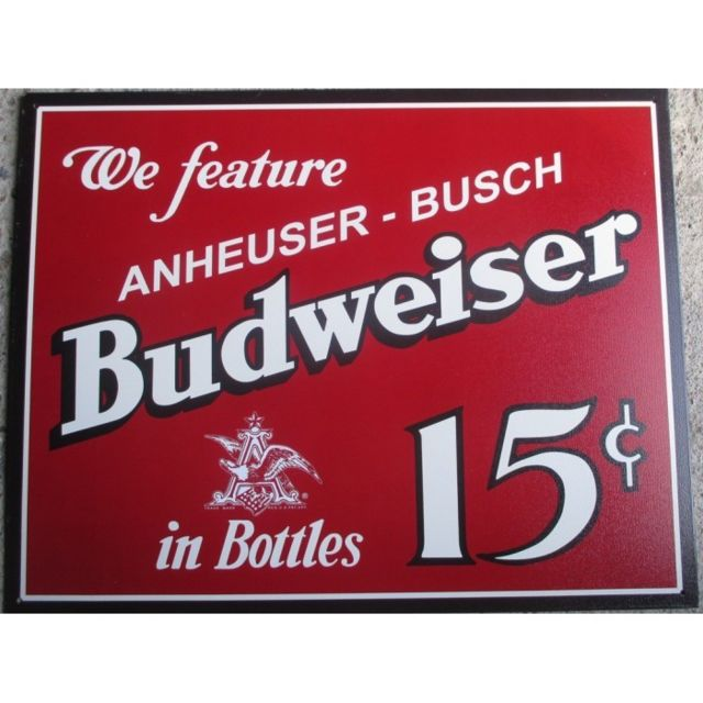 Universel Plaque budweiser 15 cents tole deco bar biere bbef bud usa