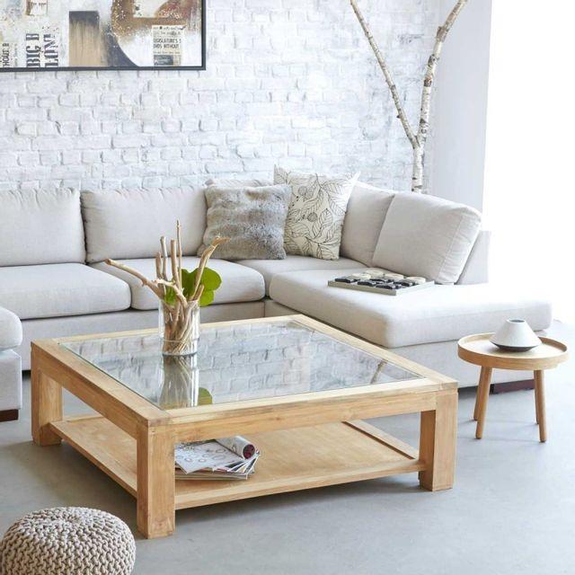 Bois Dessus Bois Dessous Table basse carrée en bois de teck vitrée 120