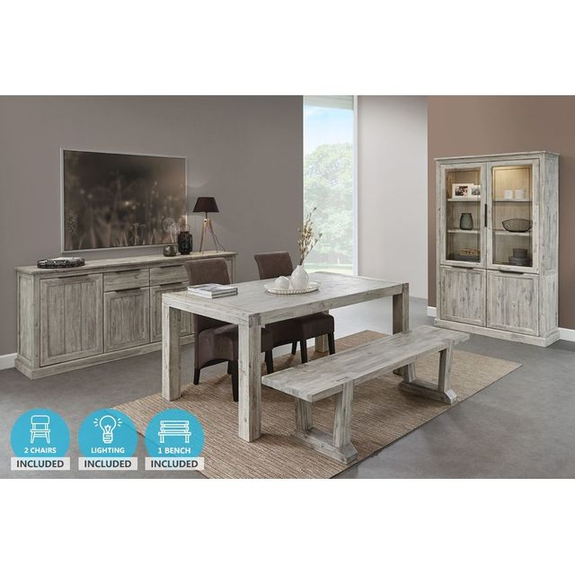 Ensemble salle à manger complète en bois massif coloris gris clair cérusé  avec lot d\'un banc et de 2 chaises