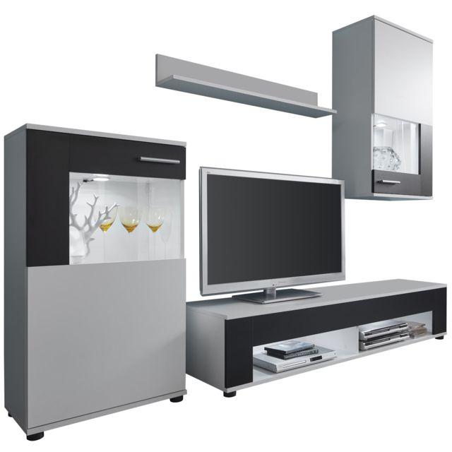 COMFORIUM - Ensemble meuble TV 229 cm avec 1 banc TV + 2 vitrines et 1.  Couleur   Blanc f70842da99c1