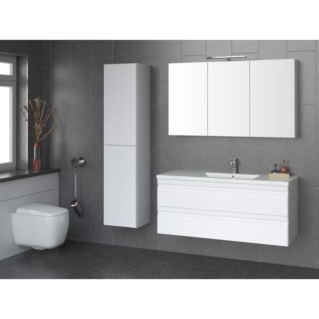 Blum - pack meuble 120 cm, blanc laqué, 2 tiroirs, colonne ...