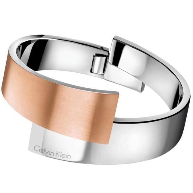 Calvin Klein , Bracelet jonc Intense bicol Acier