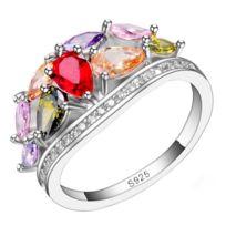 So Chic Bijoux - Bague Holly - Bouquet Pierres Gouttes Multicolores Rouge Rose Violet Orange Jaune Oxyde de Zirconium Argent 925 - Taille 55