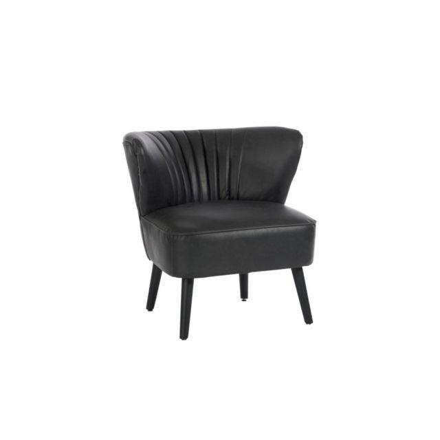 design and vintage fauteuil crapaud en simili cuir noir pas cher achat vente salons. Black Bedroom Furniture Sets. Home Design Ideas