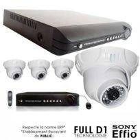 SecuriteGOODdeal - Kit vidéosurveillance 4 dômes blancs Ccd Sony 700L