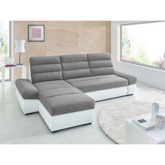Sofa Story Canapé d'angle convertible Bimbo Gris / blanc