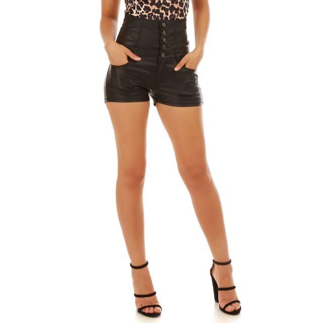 Lamodeuse - Short taille haute en jean enduit noir - pas cher Achat ... c4c34290c0d