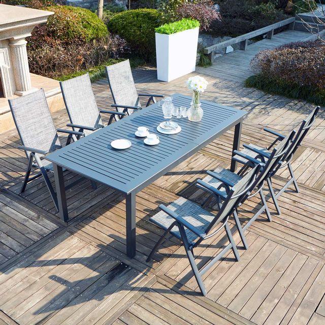 CONCEPT USINE Berana 6 : table de jardin extensible 10 personnes + 6 chaises en aluminium