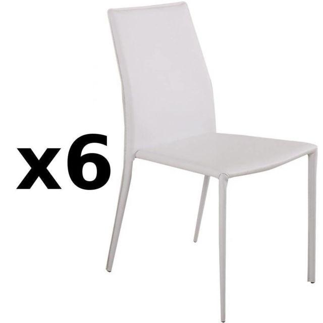 Inside 75 Lot de 6 chaises design Polo en tissu enduit polyuréthane simili façon cuir blanc