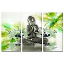 Declina - Tableau triptyque deco zen bouddha et fleurs - Impression sur toile