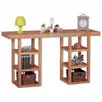 COMFORIUM - Console 150 cm en bois massif d'acacia à 6 compartiments coloris bois naturel