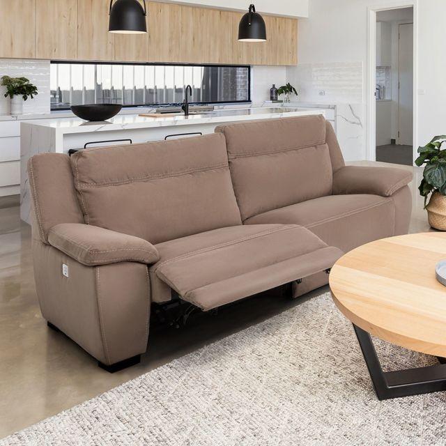 ALTOBUY Jerez - Canapé Relax Electrique 3 Places Marron