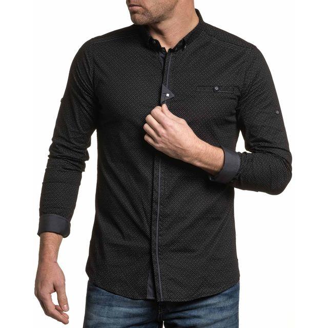 d3ee6057f7a16 BLZ Jeans - Chemise homme noire habillée à motifs - pas cher Achat ...