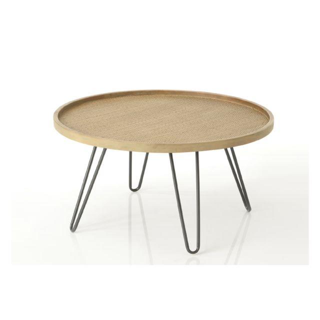 HELLIN Table basse en rotin tressé et pieds métal- Large- TEDDY