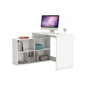 declikdeco bureau d 39 angle 4 niches blanc perle cino 101cm x 77cm x 112cm pas cher achat. Black Bedroom Furniture Sets. Home Design Ideas