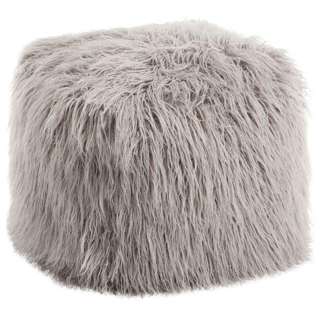 comforium pouf gris en fausse fourrure 100 polyester c silvio pas cher achat vente poufs. Black Bedroom Furniture Sets. Home Design Ideas
