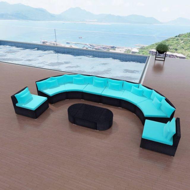 Icaverne - Ensembles de meubles d\'extérieur ensemble Mobilier de jardin  Bleu tropical Résine tressée