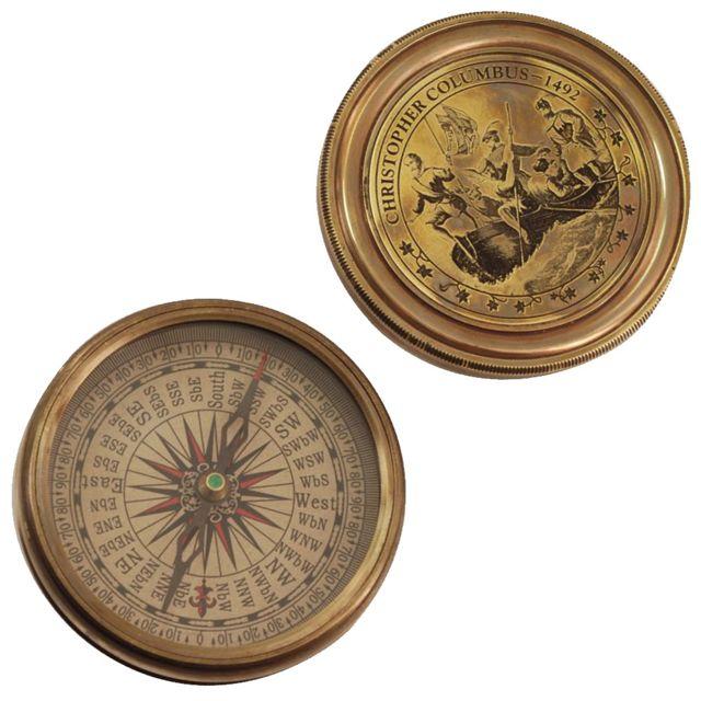 Signe Boite boussole en laiton ornementale Christophe Colomb