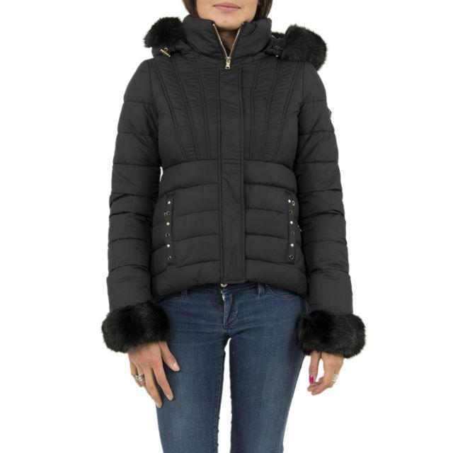 574e0053d5be Guess - Doudounes jeans w74l65 doris noir - pas cher Achat   Vente Blouson  femme - RueDuCommerce