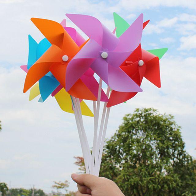 100pcs 3d fleur moulin à vent auto-assemblage décor de jardin enfant en plein air jouet orange