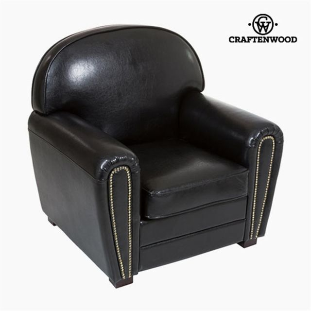 Craftenwood Fauteuil Cuir synthétique Noir - Collection Relax Retro by