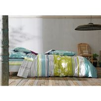 Blanc des Vosges - Taie d'oreiller 100% coton imprimé fleur encadrement géométrique Boheme - Turquoise - 65X65cmNC
