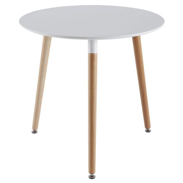 Comforium Table ronde design > coloris blanc et bois