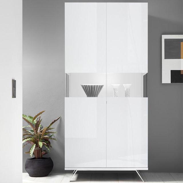 Sofamobili Vaisselier Led blanc laqué design Rosini 2