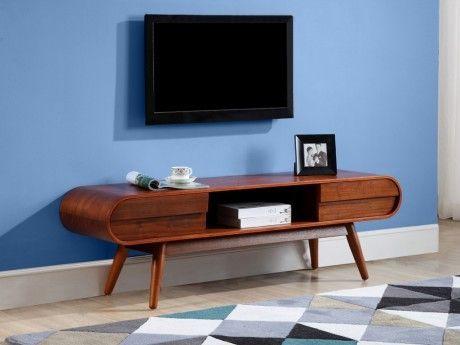 VENTE-UNIQUE - Meuble TV DAVEN - 2 tiroirs & 1 niche - Pieds noyer ...