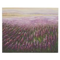 Mendler - Tableau à l'huile, champ de fleurs, peint à la main à 100%, toile de décoration murale Xl ~ 100x80cm