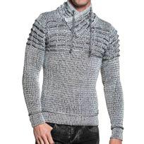 BLZ Jeans - Pull homme côtelé blanc et noir col zippé