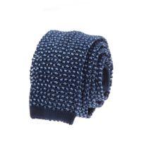 Bruce Field - Cravate fine en maille tricot de soie marine et ciel - 3039