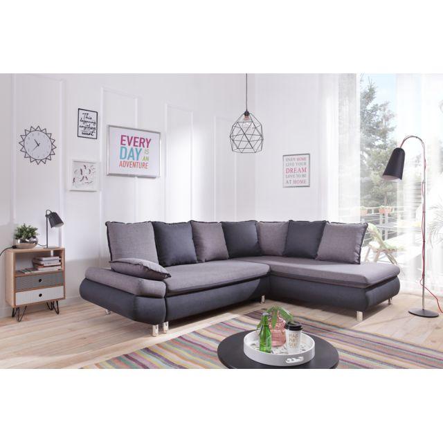 BOBOCHIC - NESTOR L - Convertible - Angle droit - Gris foncé/gris clair Bicolor - 90cm x 260cm - Droite