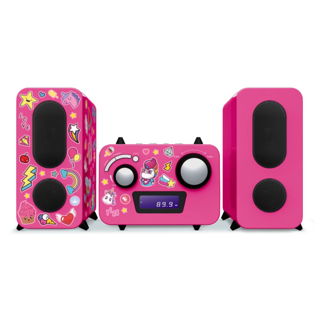Big Ben Interactive Microchaîne Enfant Rose + Stickers Lecteur Cd Radio Pll Fm Stéréo edition limitée Unicorn