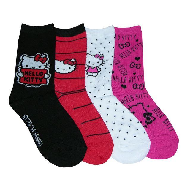 101ab427ca8db Hello Kitty - Chaussettes enfant Hello Kitty lot de 4 Couleur - Noir Rouge
