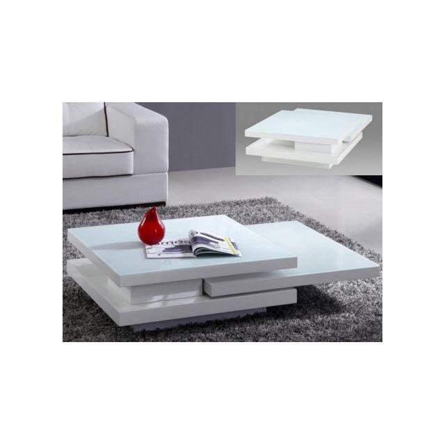 Vente-unique Table basse Estrada plateaux pivotants - Mdf - Blanc